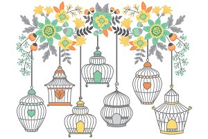 Vector Bird Cages and Floral Clipart
