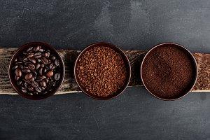 Three different varieties of coffee
