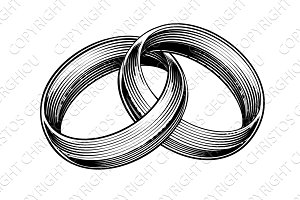 Wedding Rings Bands Woodcut Etching