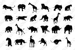 African Safari Animal Silhouettes