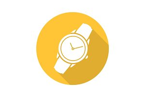 Wristwatch flat design long shadow icon