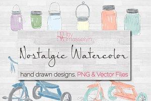Watercolor Mason Jars & Tricycles