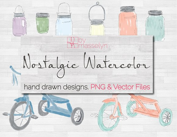 Watercolor Tricycles Mason Jars