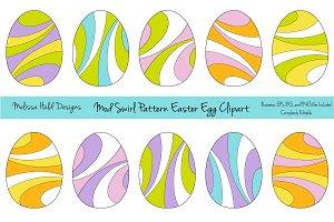 Mod Swirl Pattern Easter Egg Clipart