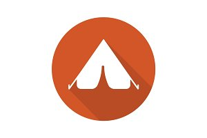 Tent flat design long shadow icon