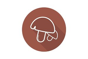 Mushrooms flat linear long shadow icon