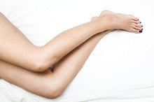 Shaved and smooth woman's long legs