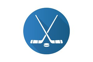 Hockey sticks and puck. Flat design long shadow icon