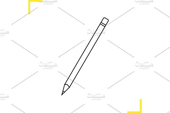 Pencil with eraser linear illustration