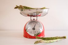 Retro Kitchen scales with asparagus