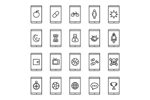 Smartphone apps linear icons set