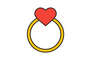 Gold wedding ring with heart color icon