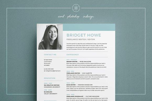Resume/CV   Bridget ~ Resume Templates ~ Creative Market