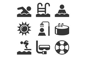 Swimming Pool Icons Set