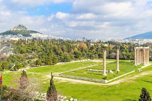 view on ruins ancient temple of Zeus, Athens