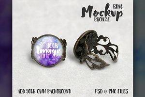 Bronze filigree ring mockup