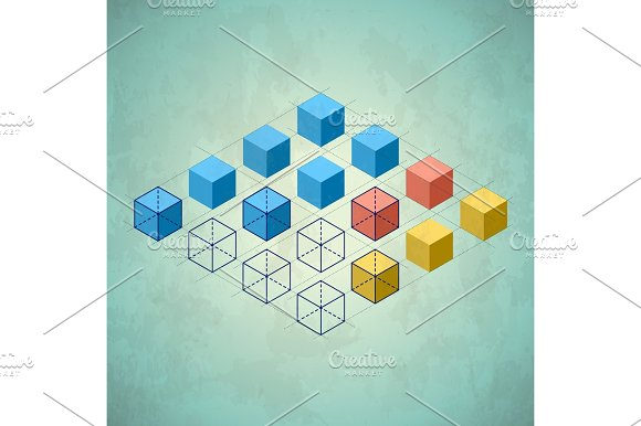Infographics With Cubes Diamond Shaped Plane