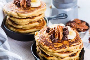 Breakfast - chocolate chip pancakes with coffee and juice