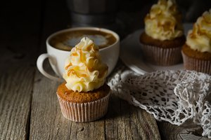 Caramel cupcakes with buttercream frosting