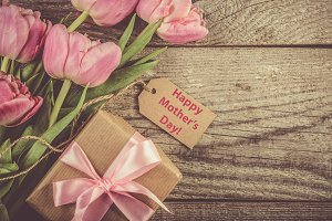 Mother's day card with coffee, present