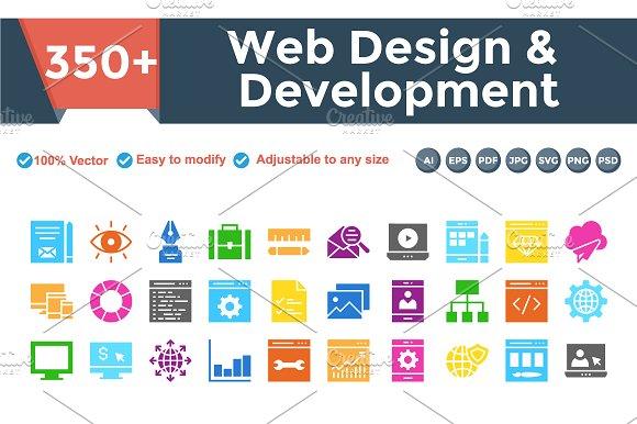 Web Design & Development multi color in Icons