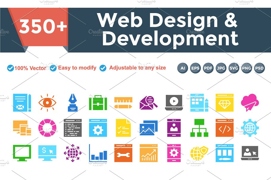 Web Design & Development multi color in Icons - product preview 8