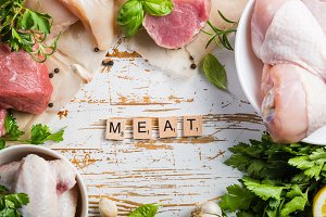 Selection of different meat cuts