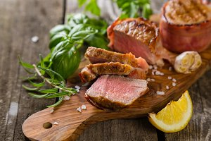 Roasted filet mignon with herbs and spices