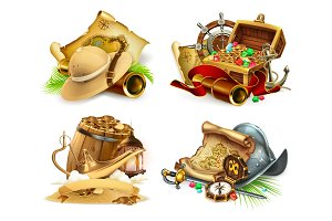 Treasure hunt and adventure, vector