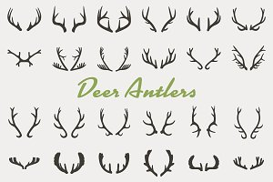 Black silhouettes of antlers