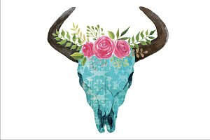 Boho Skull with horns & flowers PNG