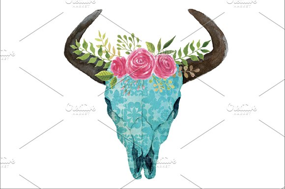 Boho Skull With Horns Flowers PNG