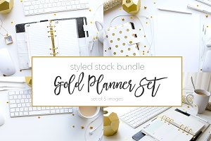 Gold & White Planner Stock Set