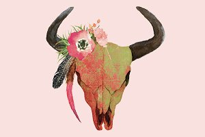 Boho skull with horns & feathers PNG