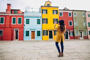 Tourist girl on Burano, Venice.