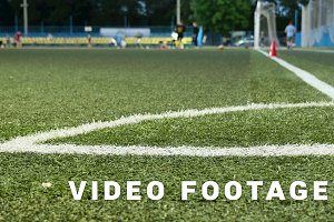 Field corner. American football training. Smooth and slow slider shot