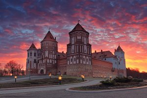Castle on colorful morning sky