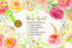 Watercolor Design Kit Rose Gold