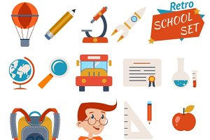 School Icon Set Graphic Designs