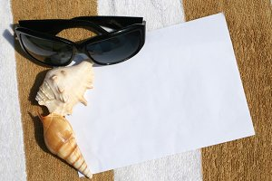 Seashell and sunglasses on paper