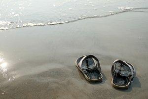 sandals and coastline