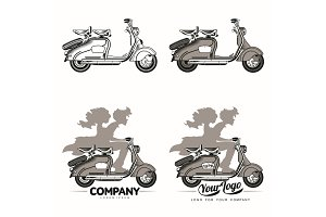 Vector illustration of vintage scooter