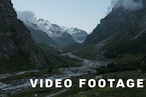 Clouds motion near alpscamp Bezengi - Elbrus area, Russia. Time-lapse