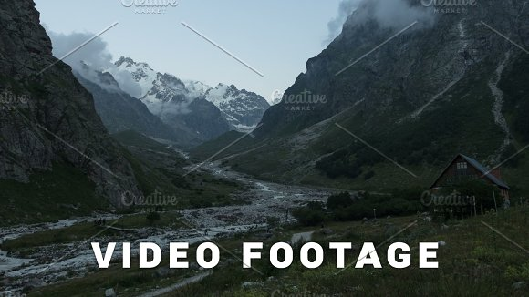 Clouds Motion Near Alpscamp Bezengi Elbrus Area Russia Time-lapse