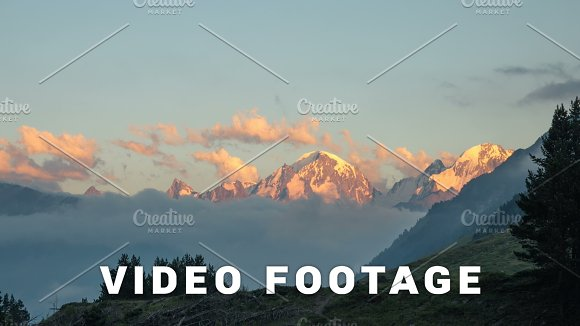 Sunset Clouds Over The Mountain Peak Elbrus Area Russia Time-lapse