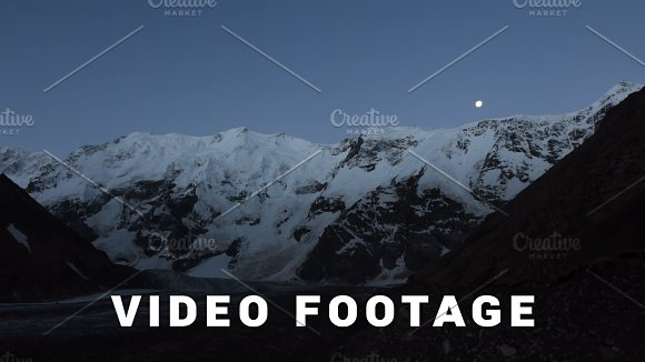 Mountains Moon And Sunrise Elbrus Area Time-lapse