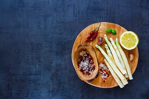 White asparagus and ingredients
