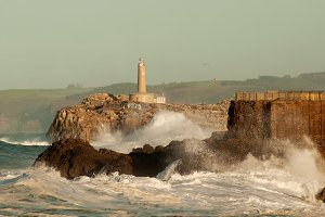 Lighthouse in the dangerous waves