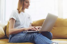 Blogger girl working at home
