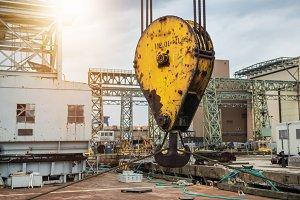 industrial crane hook in the port